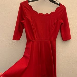 Scalloped neckline Holiday Dress 🎄